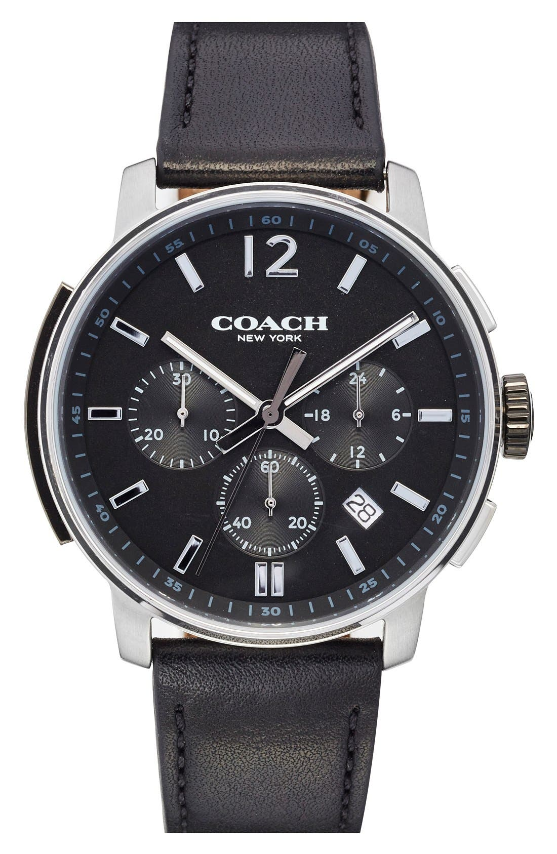 'Bleecker' Chronograph Leather Strap Watch, 44mm,                         Main,                         color, Black/ Black