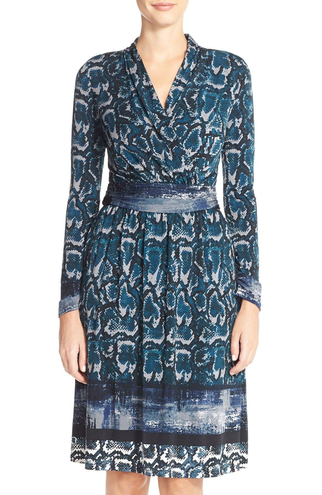 Print Jersey Faux Wrap Dress,                         Main,                         color, Mallard