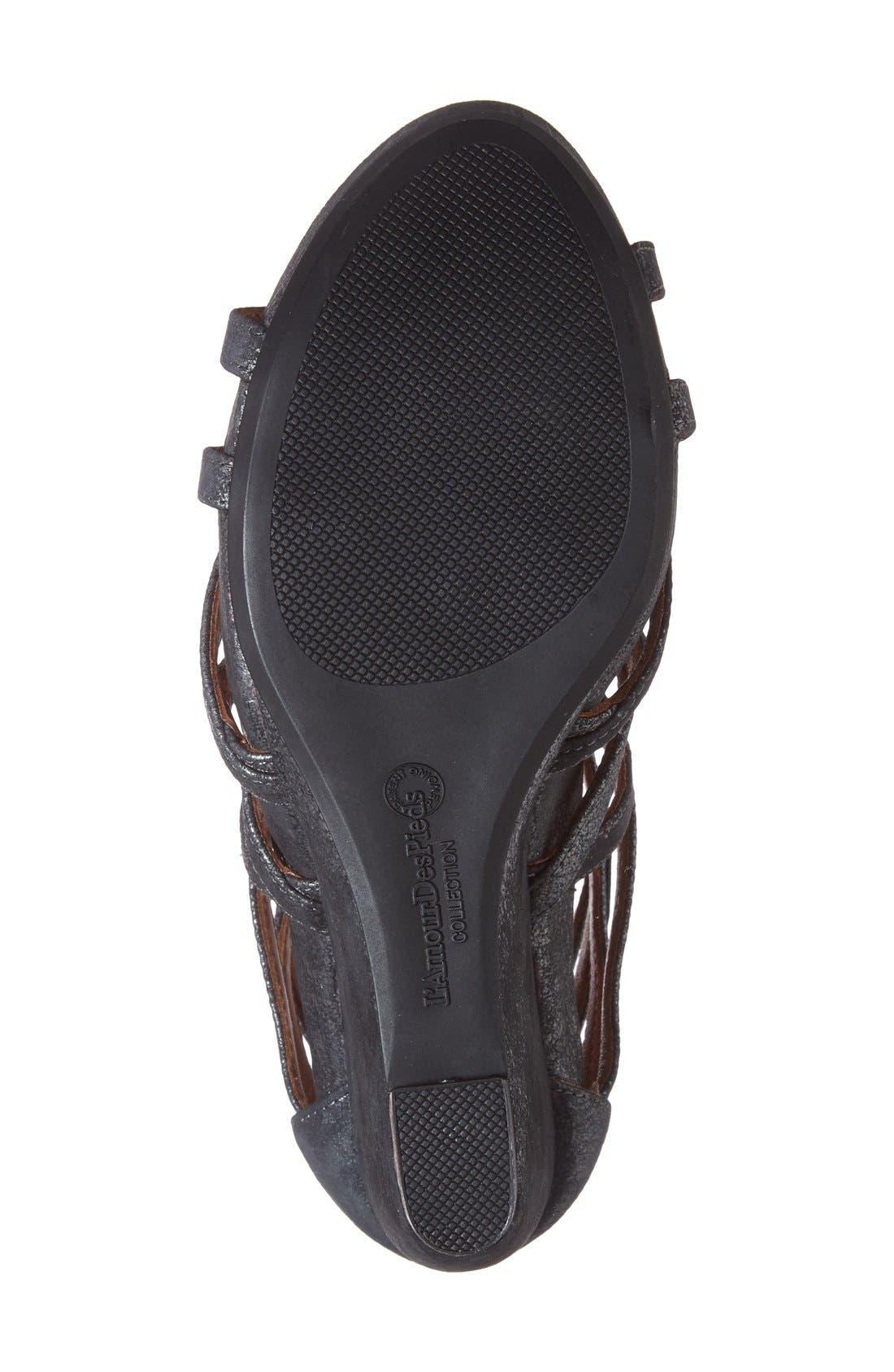 Ivanna' Gladiator Wedge Sandal,                             Alternate thumbnail 4, color,                             Graphite Leather