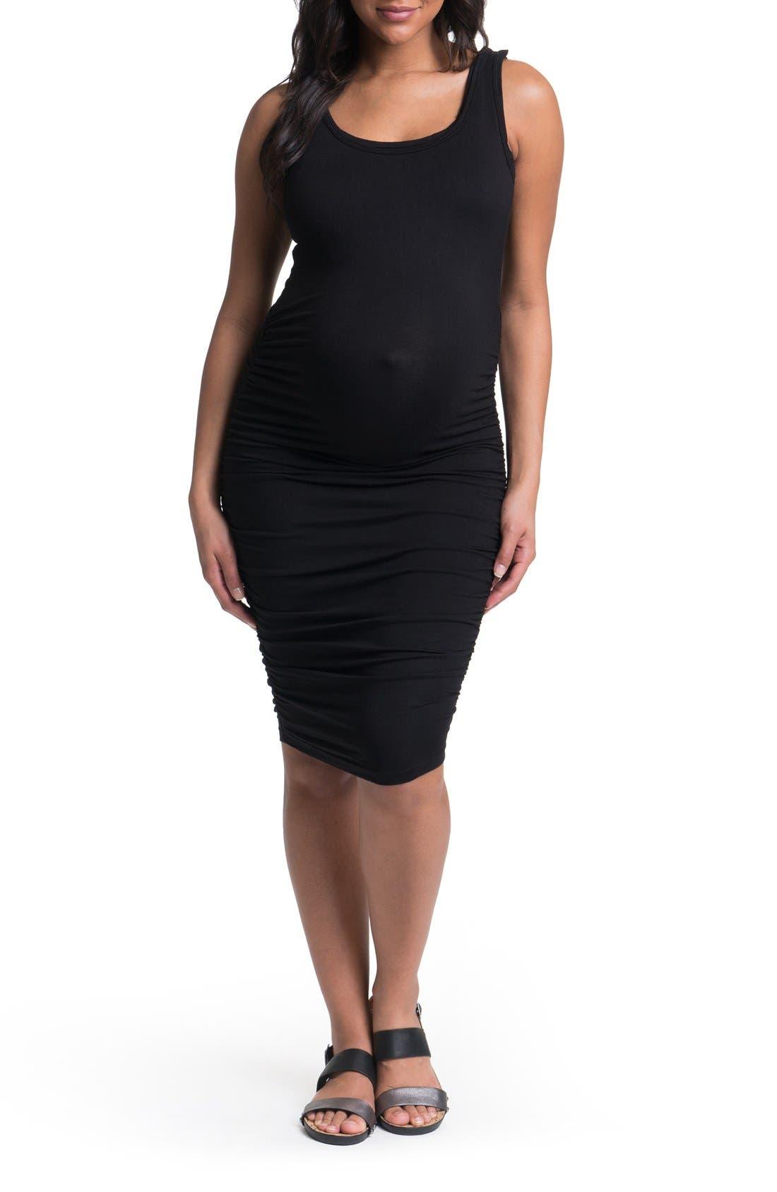 Bun Maternity Ruched Midi Tank Maternity Dress