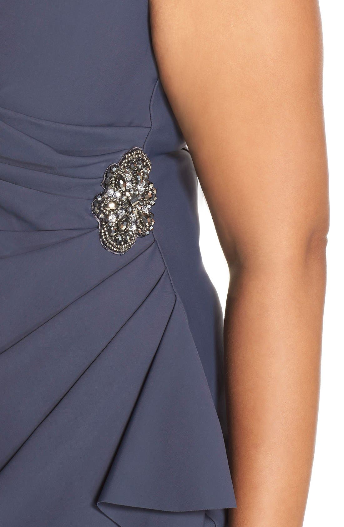 Embellished Surplice Sheath Dress,                             Alternate thumbnail 4, color,                             Charcoal
