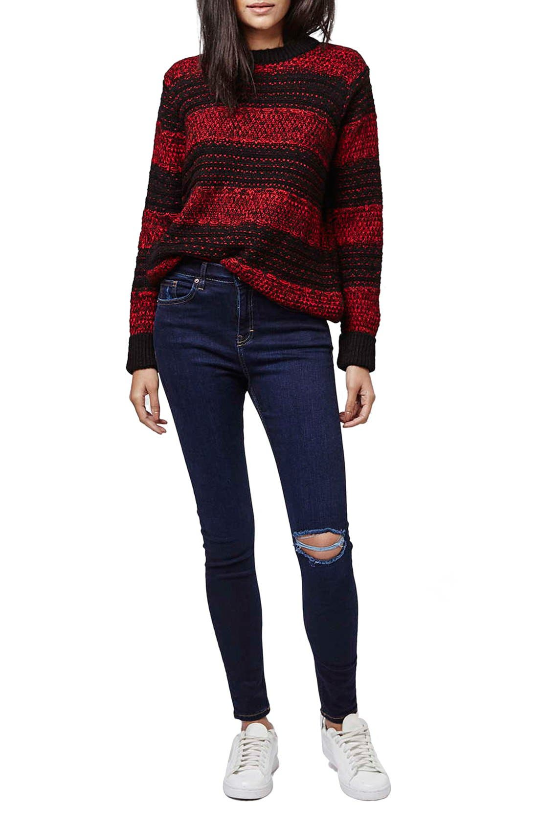 Alternate Image 2  - Topshop Moto 'Jamie' Ripped Skinny Jeans (Navy Blue)