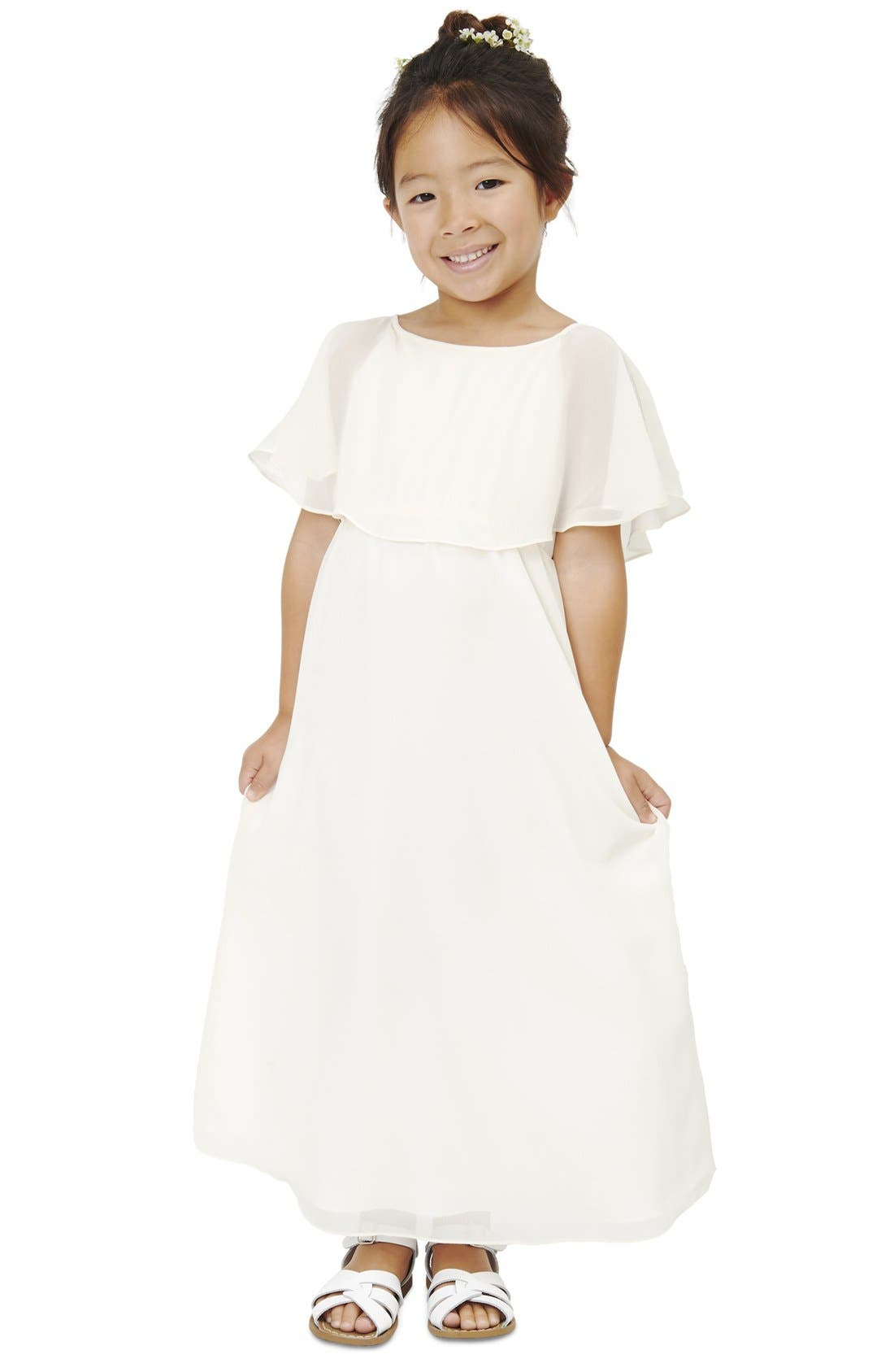 Joanna August Flutter Sleeve Long Chiffon A-Line Dress (Toddler Girls, Little Girls & Big Girls)