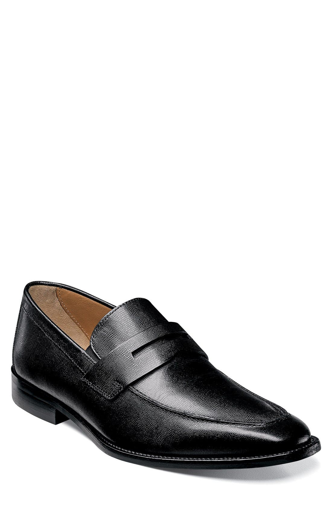 'Sabato' Penny Loafer,                             Main thumbnail 1, color,                             Ebony Leather