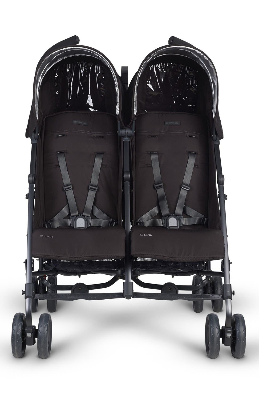 G-LINK Jake Aluminum Frame Reclining Side by Side Umbrella Stroller,                             Alternate thumbnail 4, color,                             Black