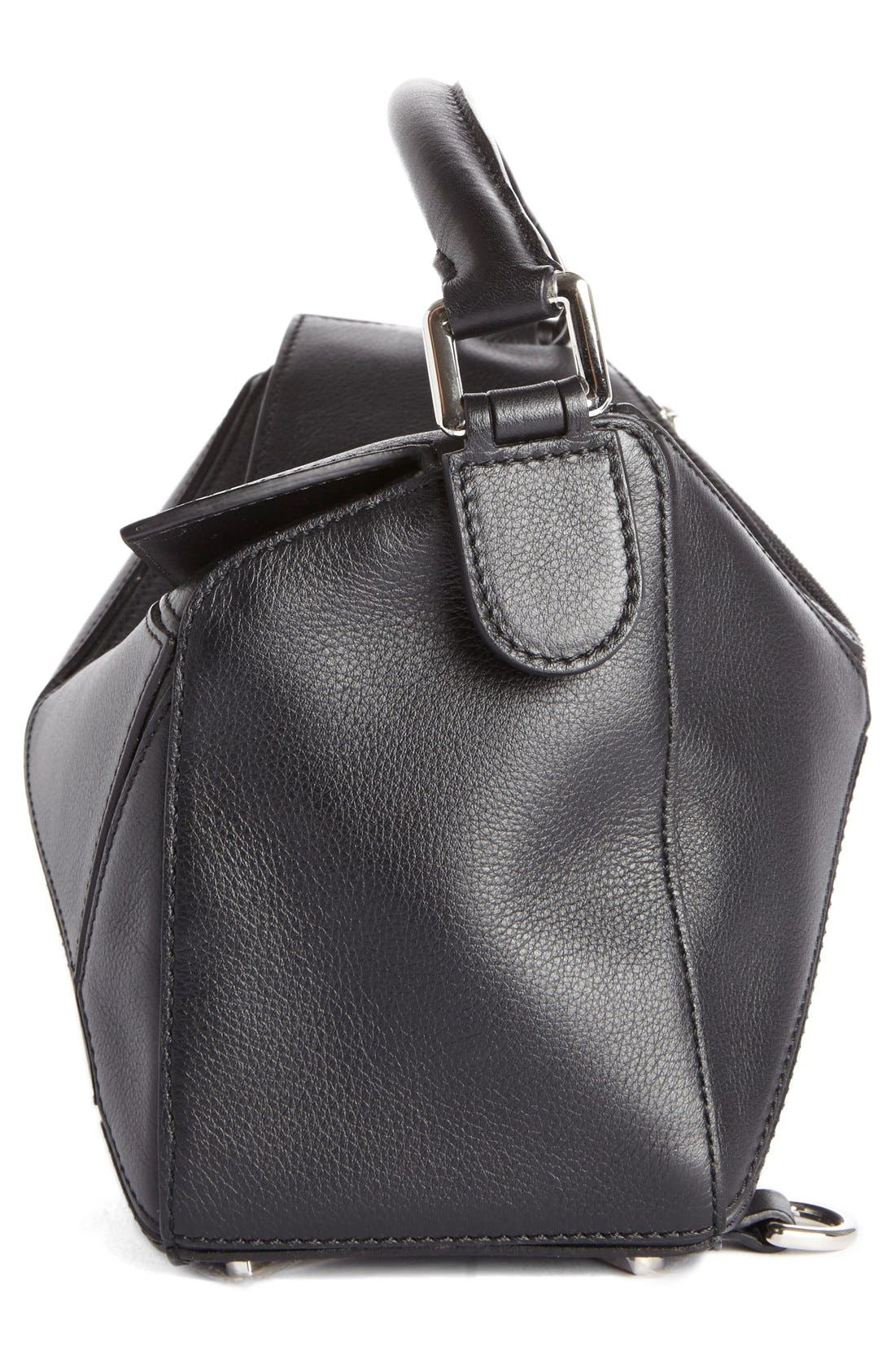 'Small Puzzle' Calfskin Leather Bag,                             Alternate thumbnail 3, color,                             Black
