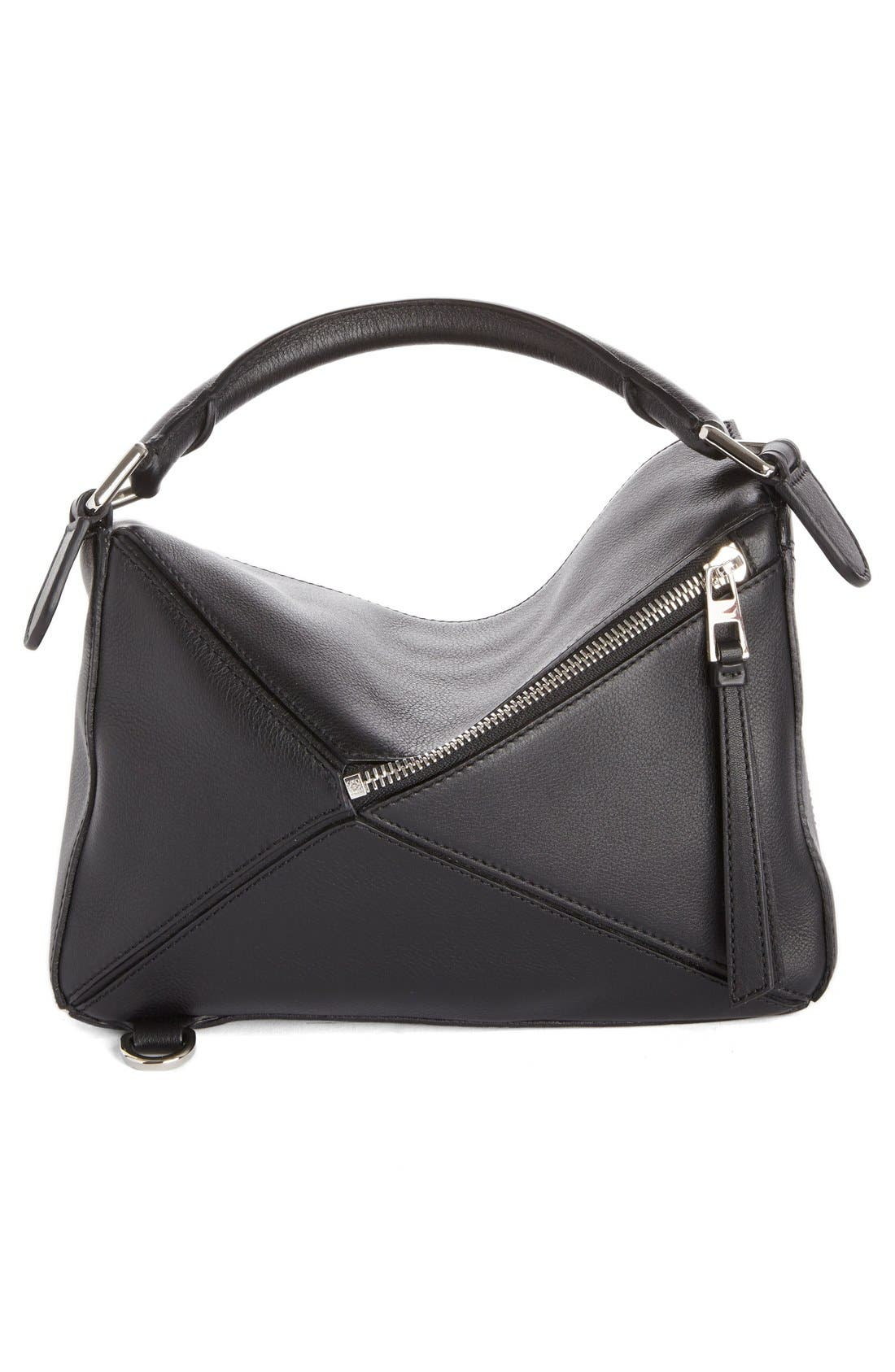 'Small Puzzle' Calfskin Leather Bag,                             Alternate thumbnail 2, color,                             Black