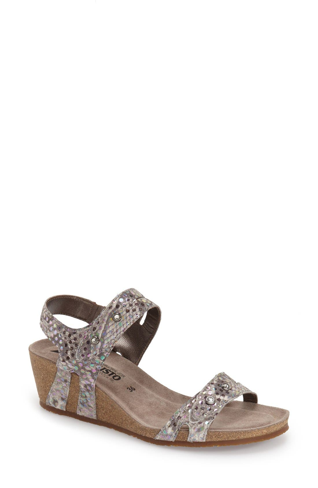 'Minoa' Wedge Sandal,                             Main thumbnail 1, color,                             Light Grey Mimosa