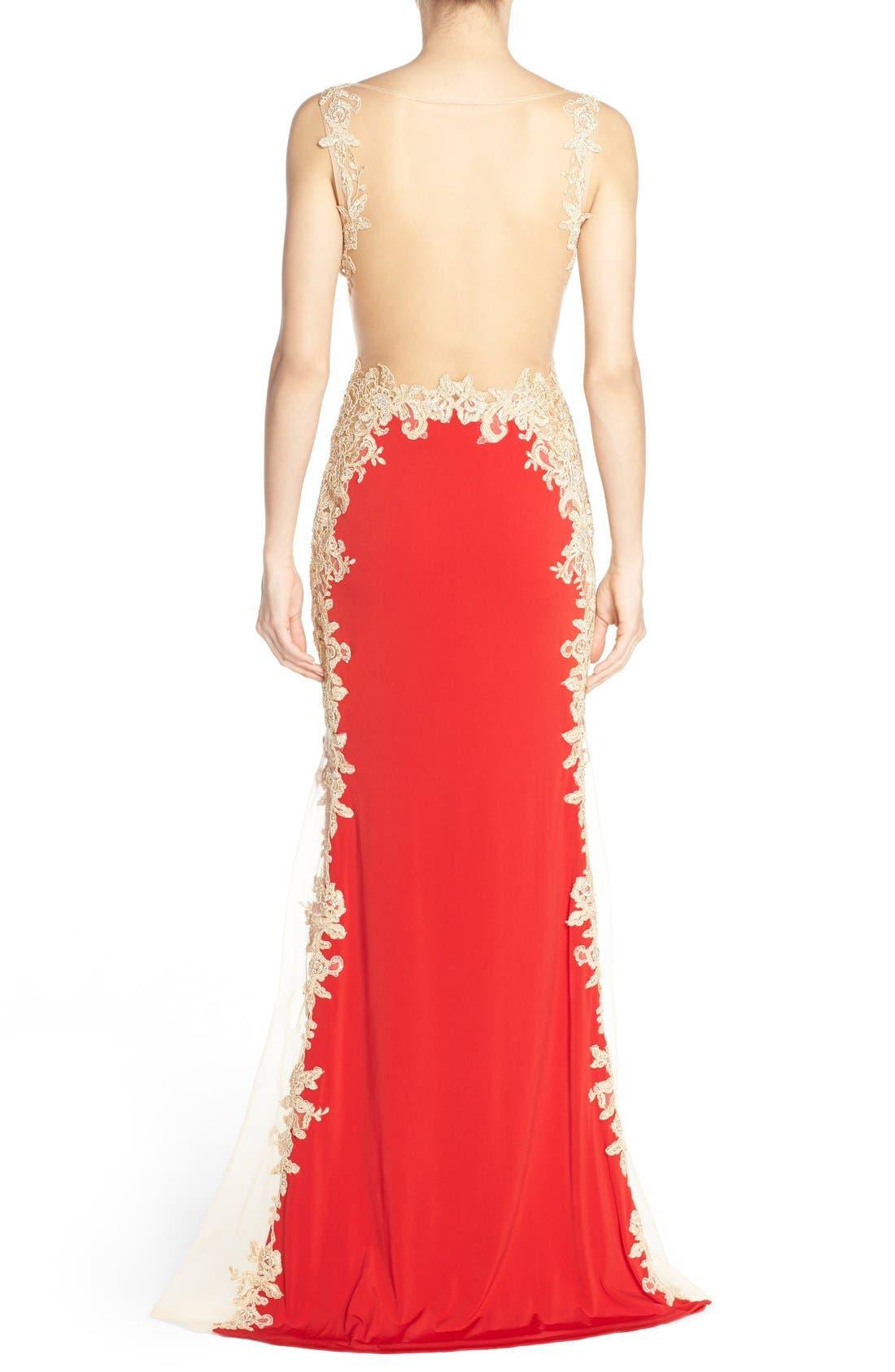 Alternate Image 2  - JVN by Jovani Embellished Sheer Back Gown