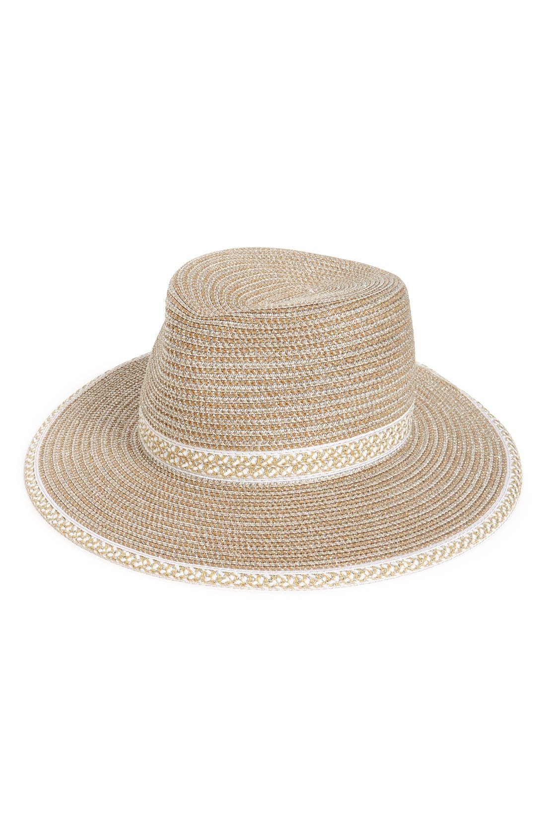 'Georgia' Woven Hat,                         Main,                         color, Frost/ White