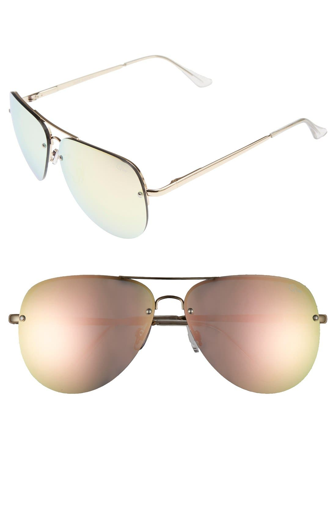 Quay Australia 'Muse' 65mm Mirrored Aviator Sunglasses