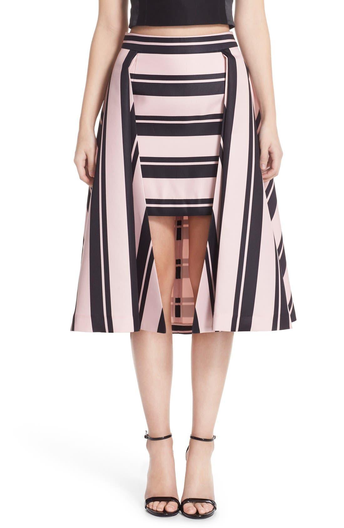Main Image - Halston Heritage Print High/Low A-Line Skirt