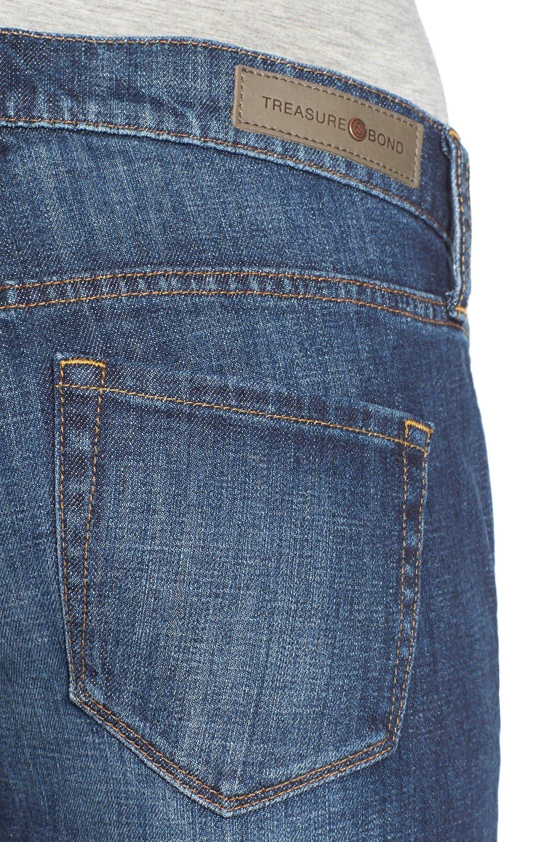 Treasure&Bond Ankle Boyfriend Skinny Jeans,                             Alternate thumbnail 5, color,                             Bluejay Dusk Destroy