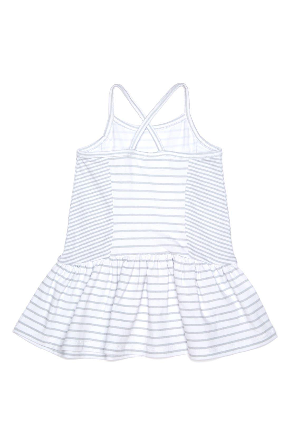 Stripe Sleeveless Dress,                             Alternate thumbnail 2, color,                             White/ Grey