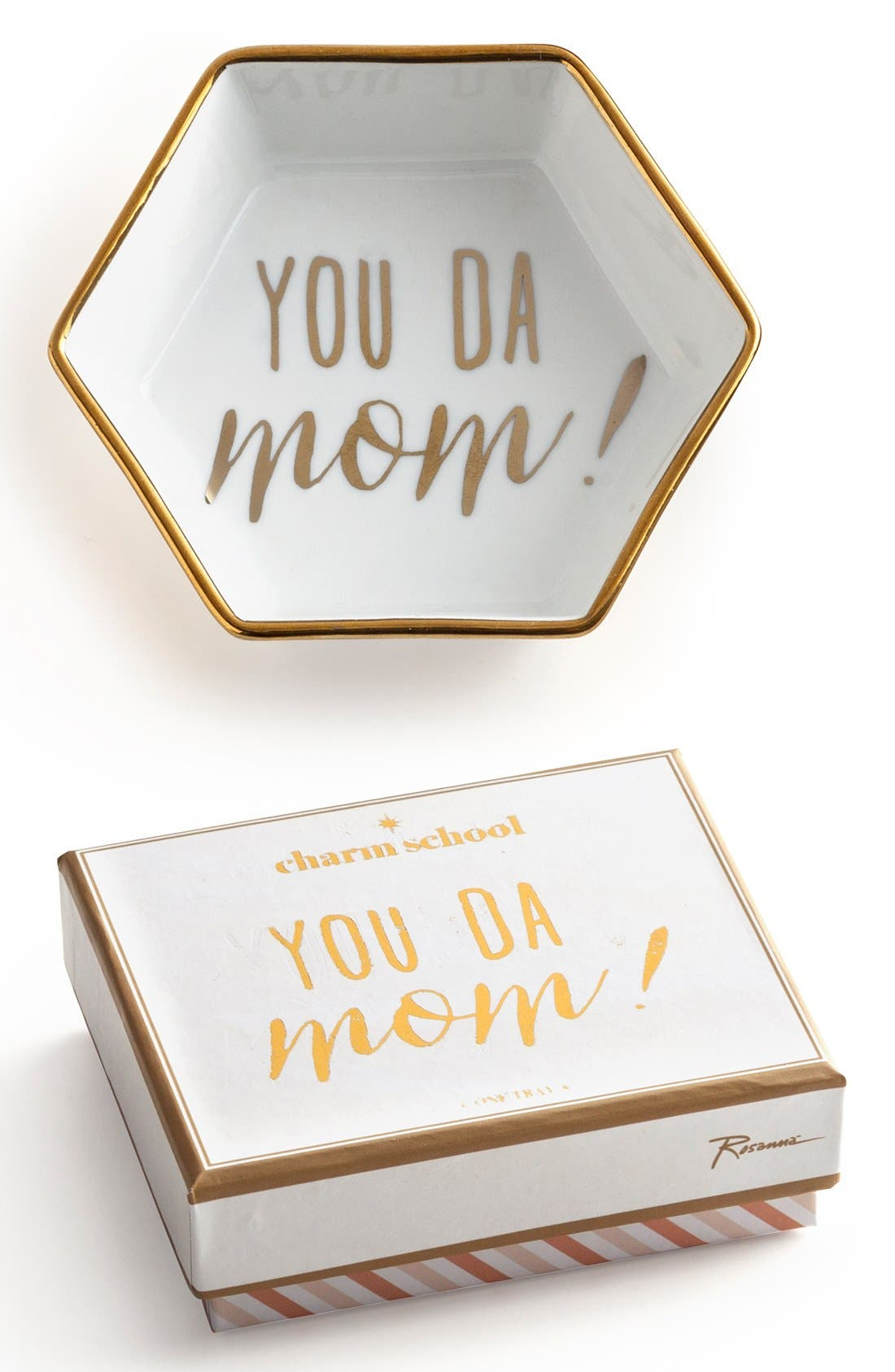 'You Da Mom' Porcelain Trinket Tray,                             Main thumbnail 1, color,                             White/ Gold