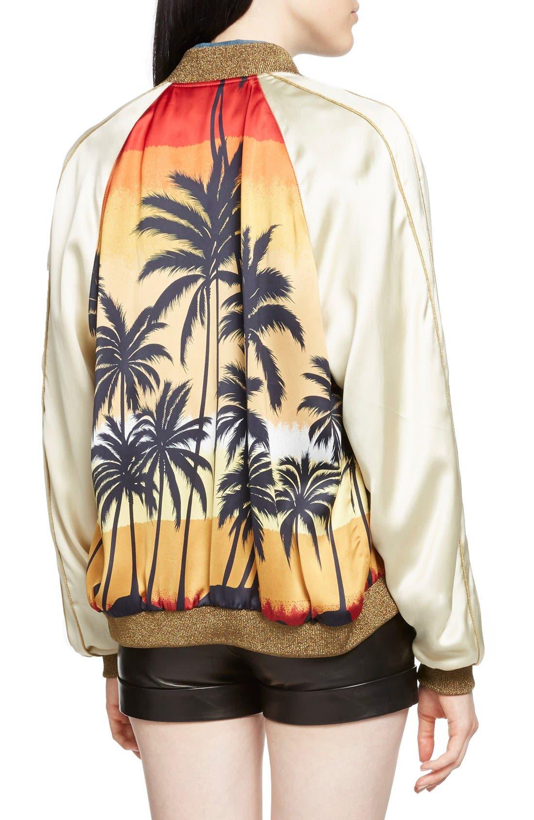 Alternate Image 2  - Saint Laurent Palm Print Raglan Bomber Jacket