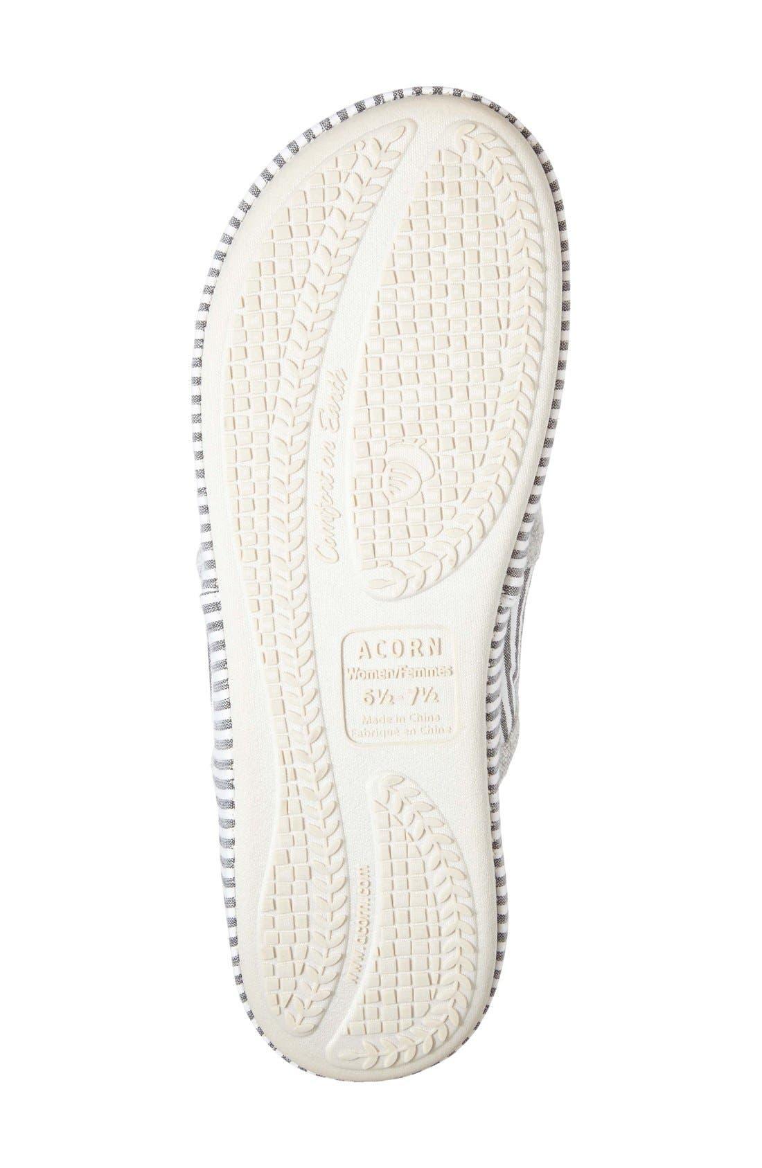 'Summerweight' Slipper,                             Alternate thumbnail 4, color,                             Grey Strip Fabric