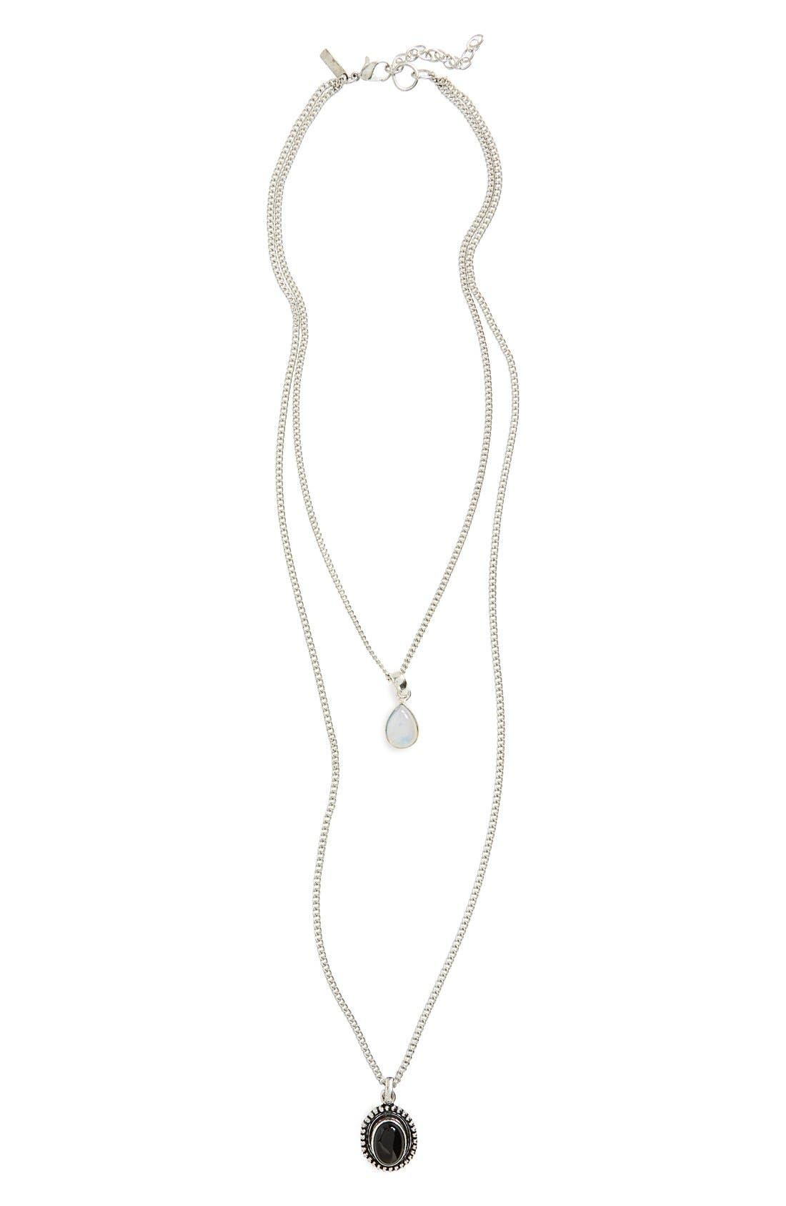 Main Image - Topshop Stone Pendant Two-Row Necklace