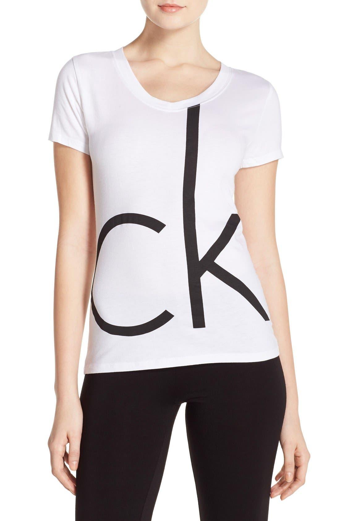 Alternate Image 1 Selected - Calvin Klein V-Neck Logo Tee