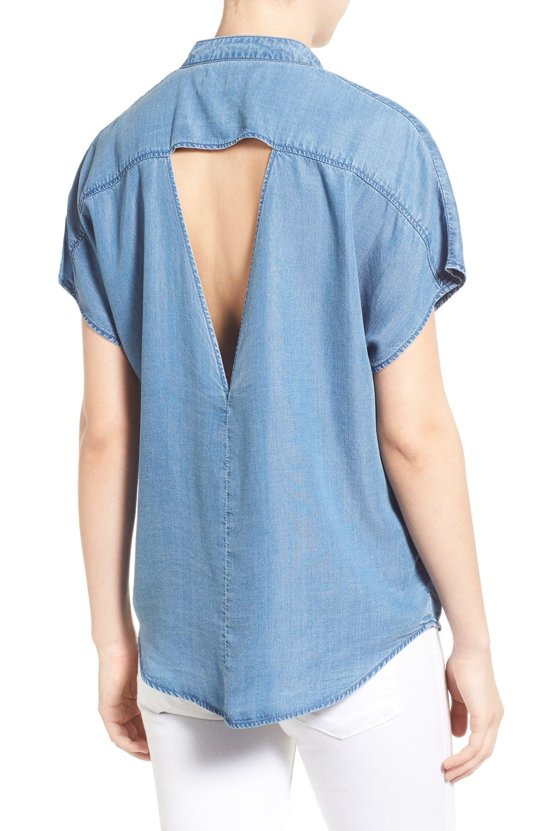 Alternate Image 2  - KENDALL + KYLIE Keyhole Back Chambray Top