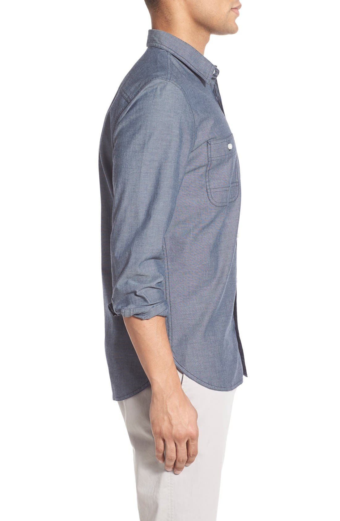 Alternate Image 5  - Wallin & Bros. 'Workwear' Trim Fit Chambray Sport Shirt (Regular & Tall)