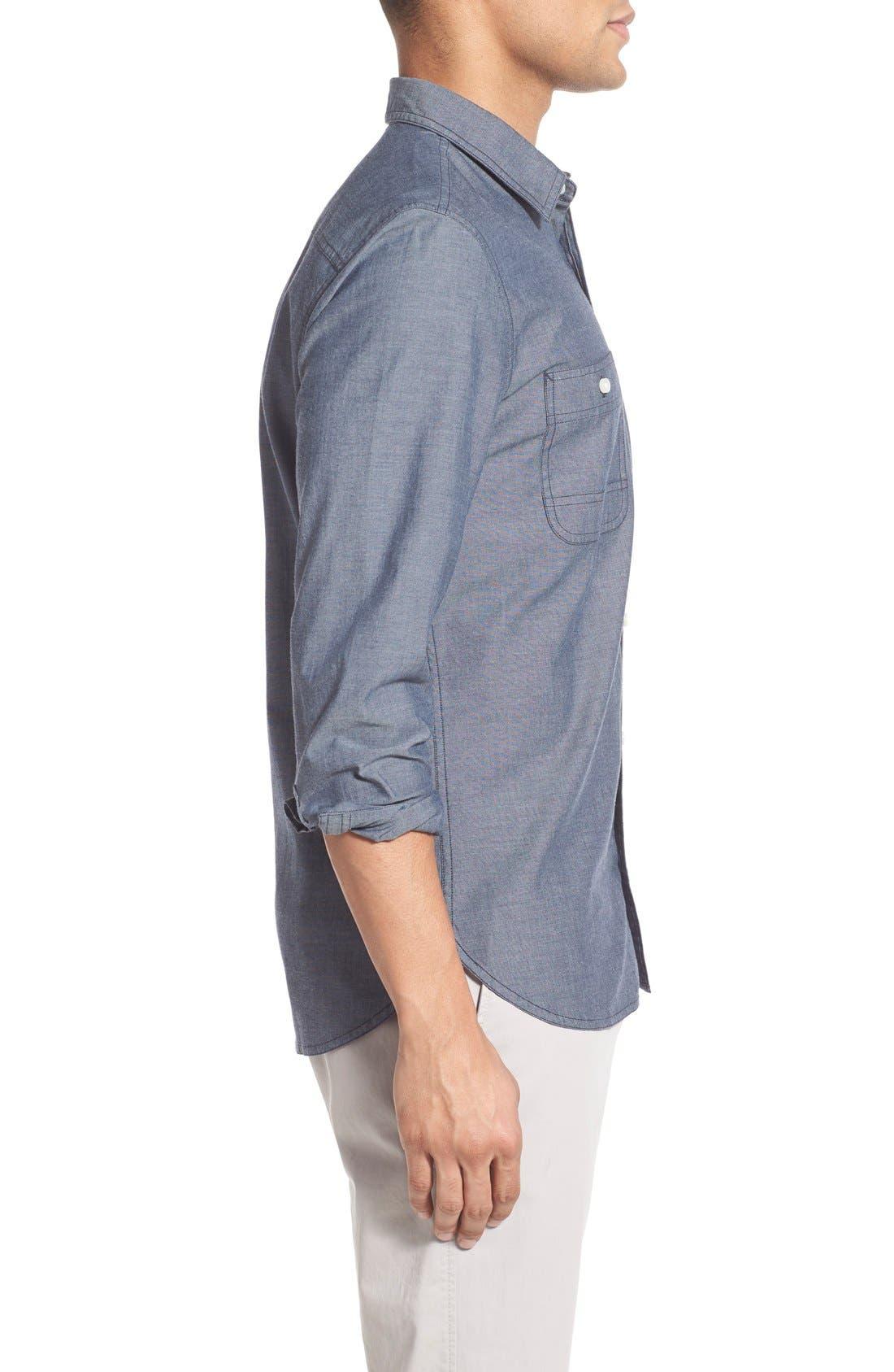 'Workwear' Trim Fit Chambray Sport Shirt,                             Alternate thumbnail 6, color,                             Light Blue