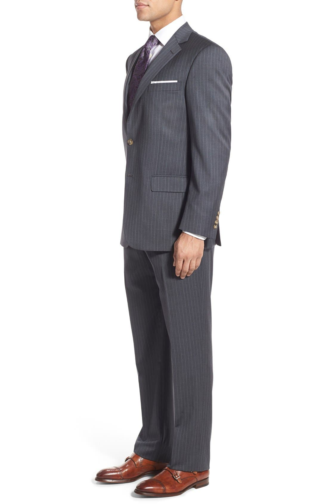 New York Classic Fit Stripe Wool Suit,                             Alternate thumbnail 3, color,                             Grey