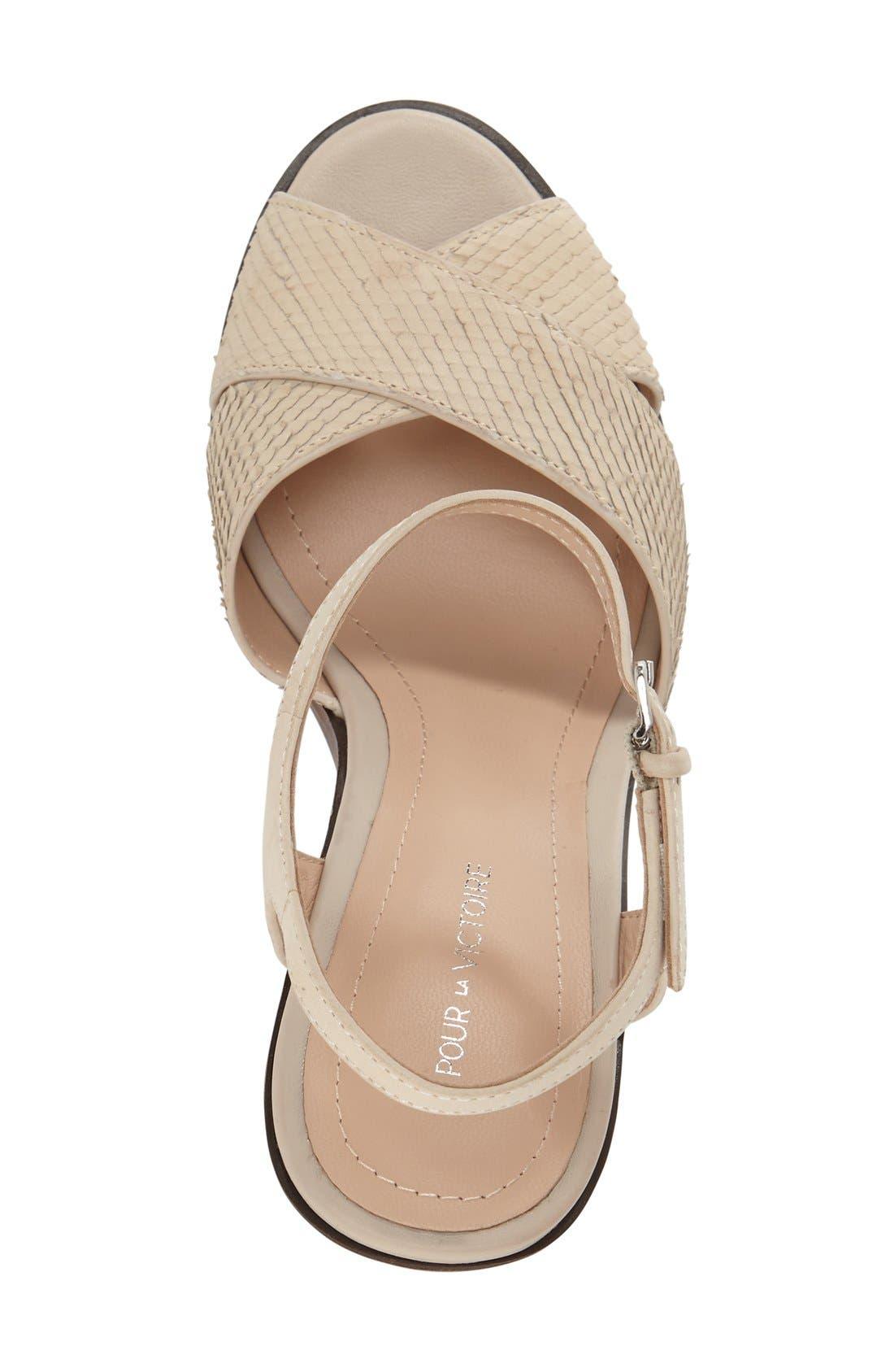 'Dakota' Platform Sandal,                             Alternate thumbnail 3, color,                             Bone Leather