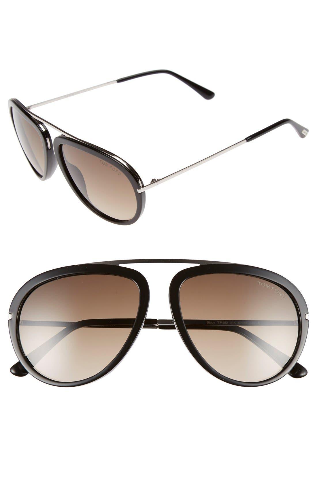 'Stacy' 57mm Aviator Sunglasses,                         Main,                         color, Shiny Black/ Gradient Roviex