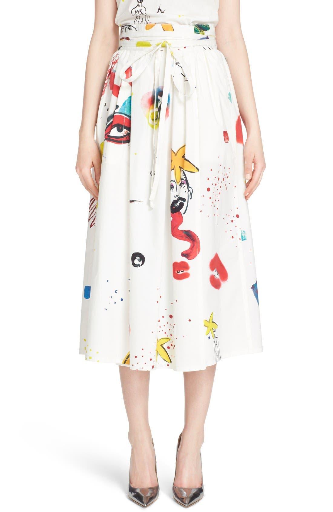 Collage Print Wrap Midi Skirt,                         Main,                         color, Multi