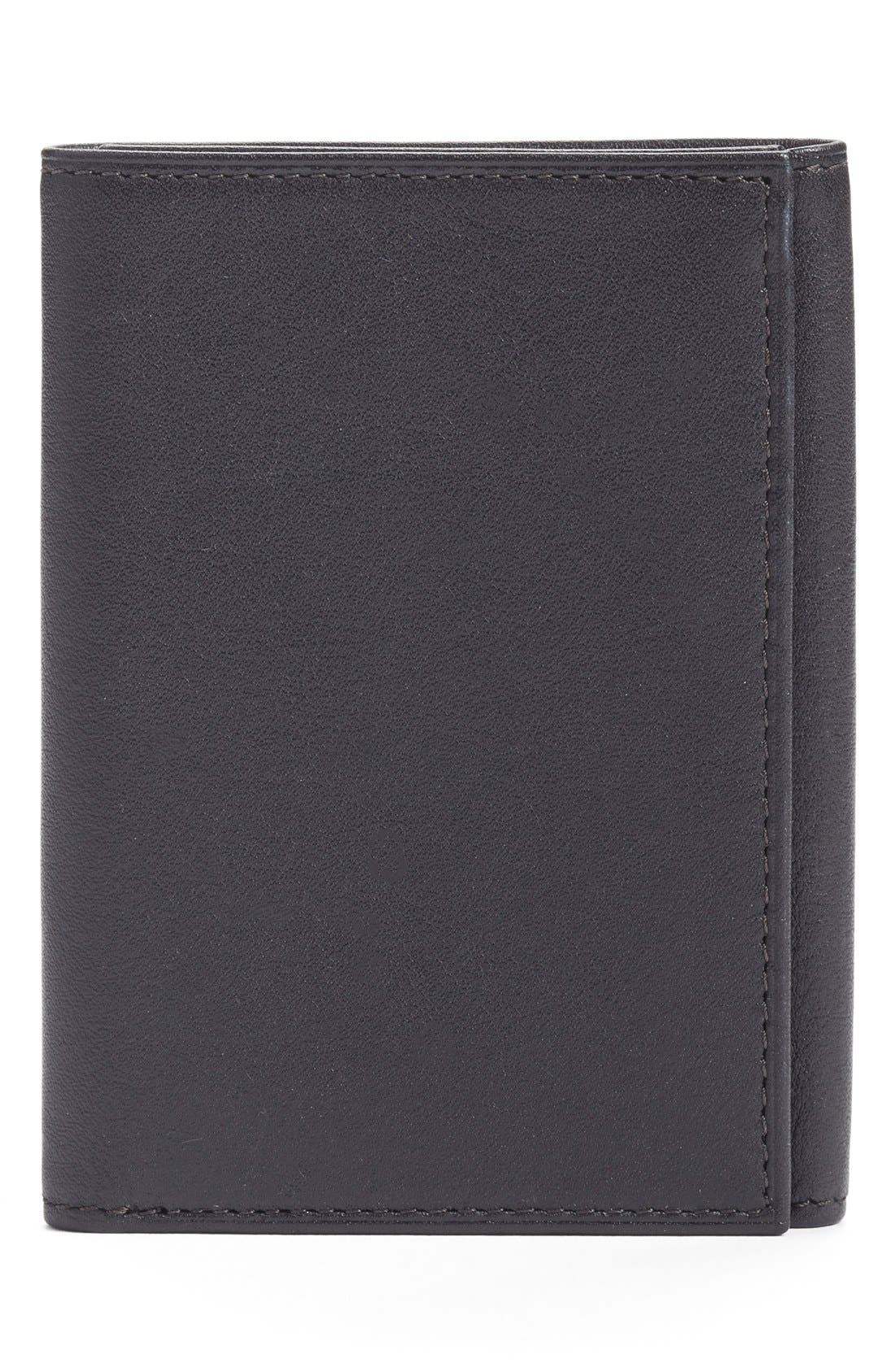 Leather Trifold Wallet,                         Main,                         color, Black