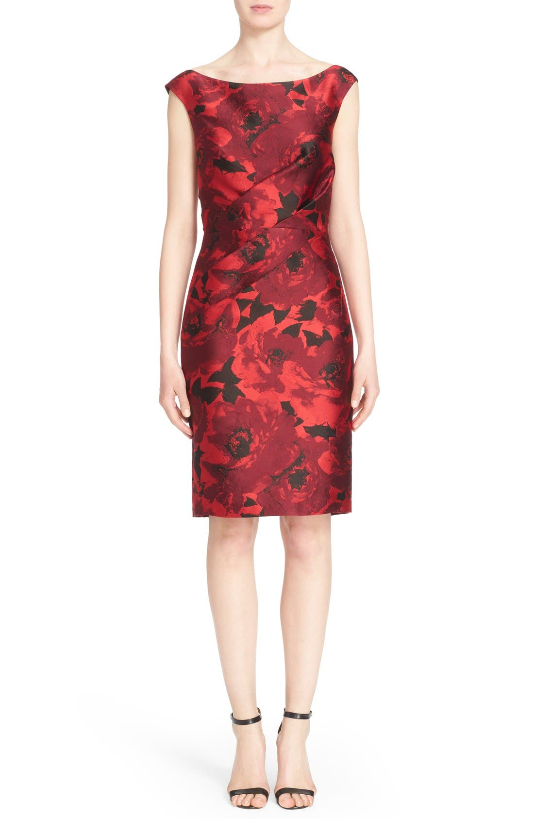 Main Image - St. John Collection 'Ombré Peony' Jacquard Sheath Dress
