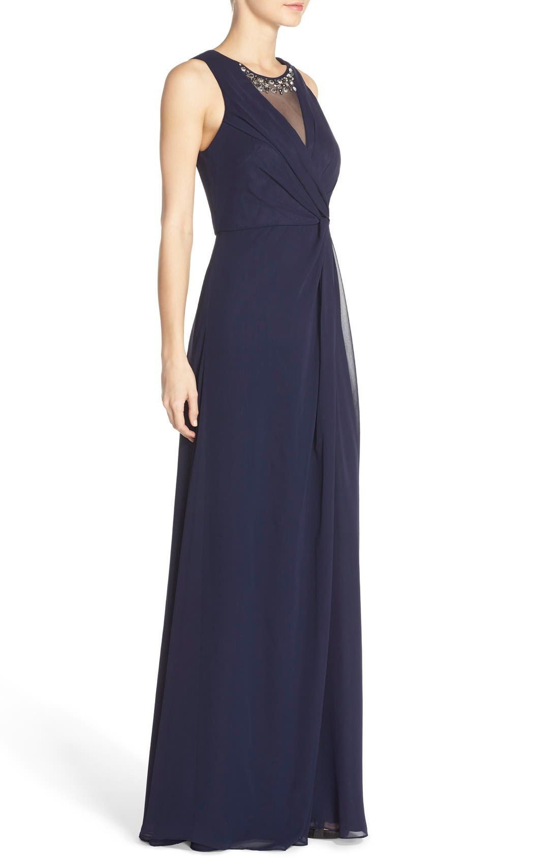 Embellished Chiffon Fit & Flare Gown,                             Alternate thumbnail 2, color,                             Navy