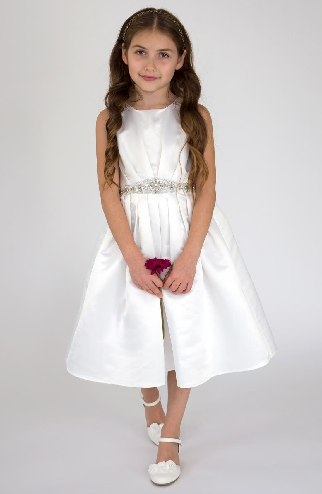 Alternate Image 1 Selected - Us Angels Satin Dress (Little Girls & Big Girls)