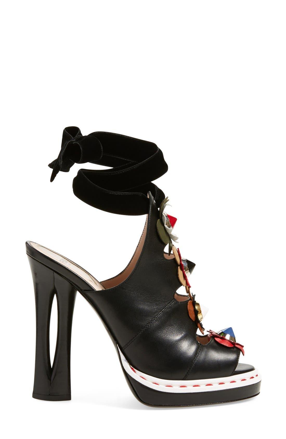 'Flowerland' Peep Toe Sandal,                             Alternate thumbnail 5, color,                             Black