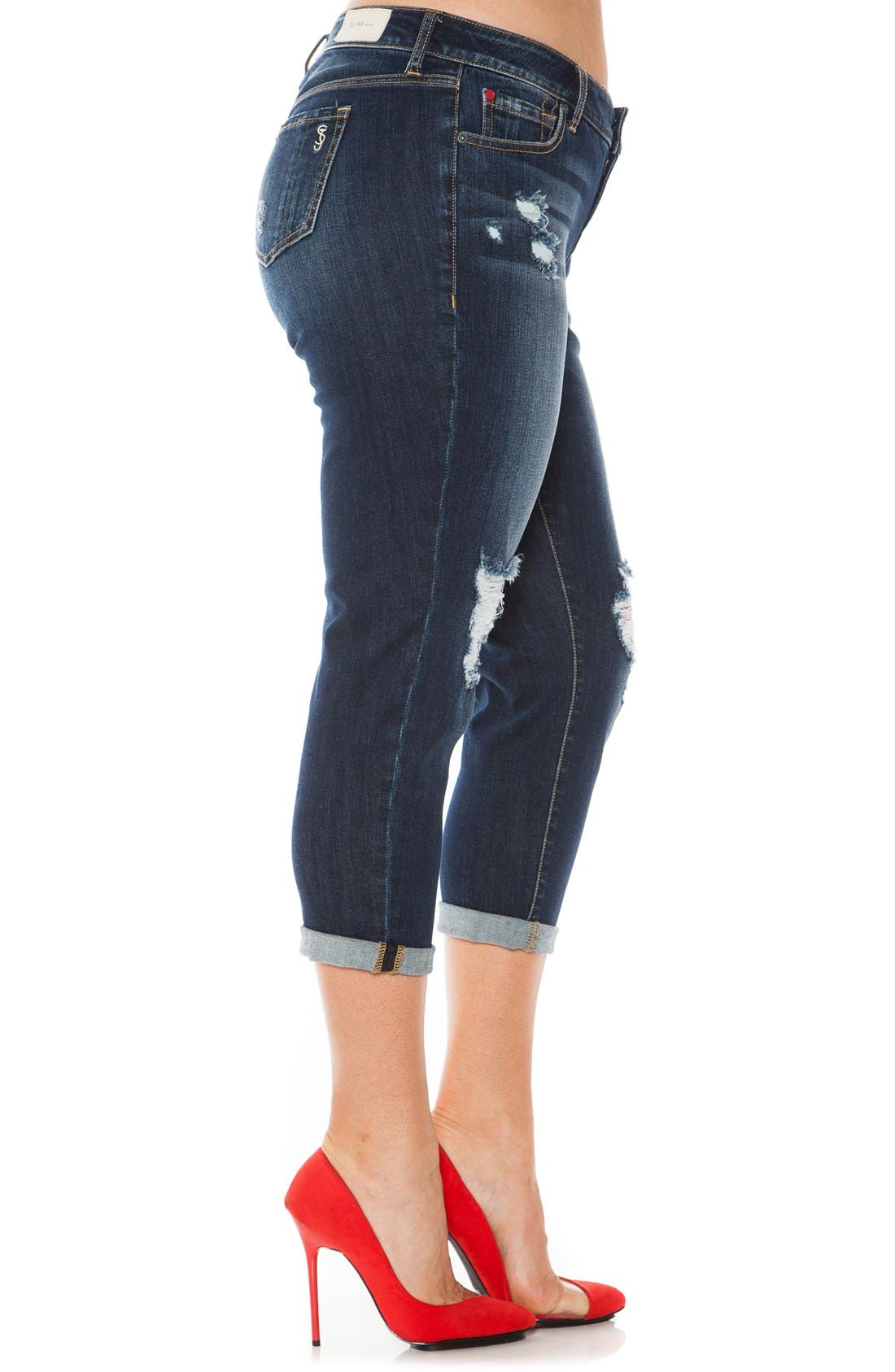 Ripped Roll Cuff Boyfriend Jeans,                             Alternate thumbnail 3, color,                             Hunter