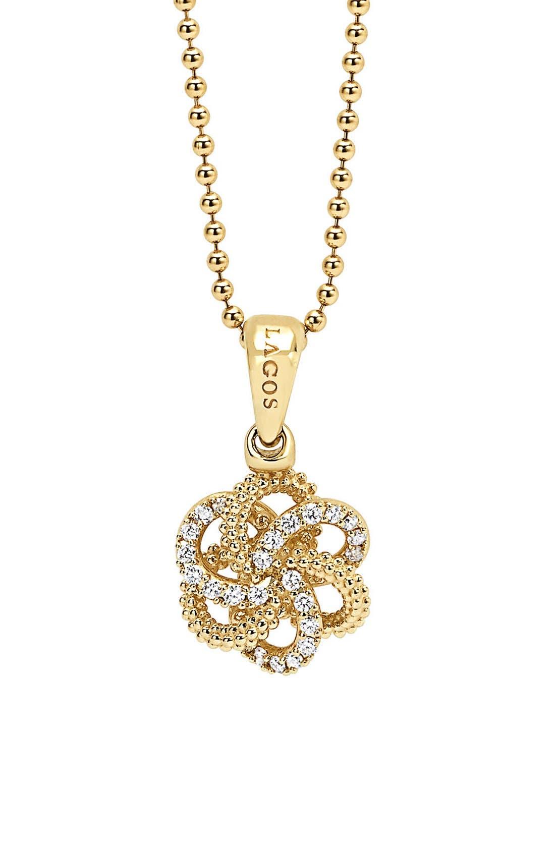 'Love Knot' Diamond Pendant Necklace,                         Main,                         color, Gold