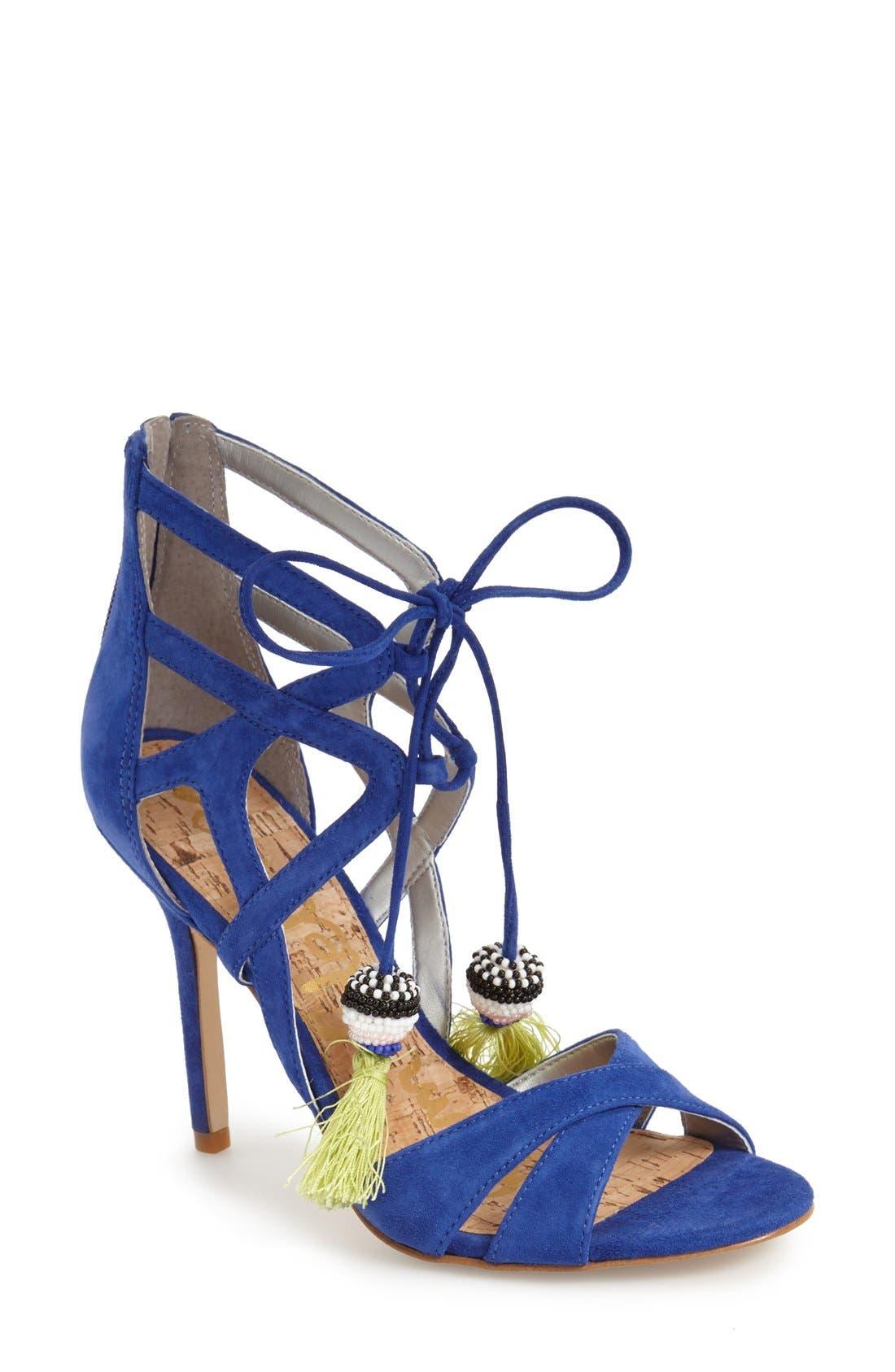 'Azela' Tassel Lace-Up Sandal,                             Main thumbnail 1, color,                             Sailor Blue Suede