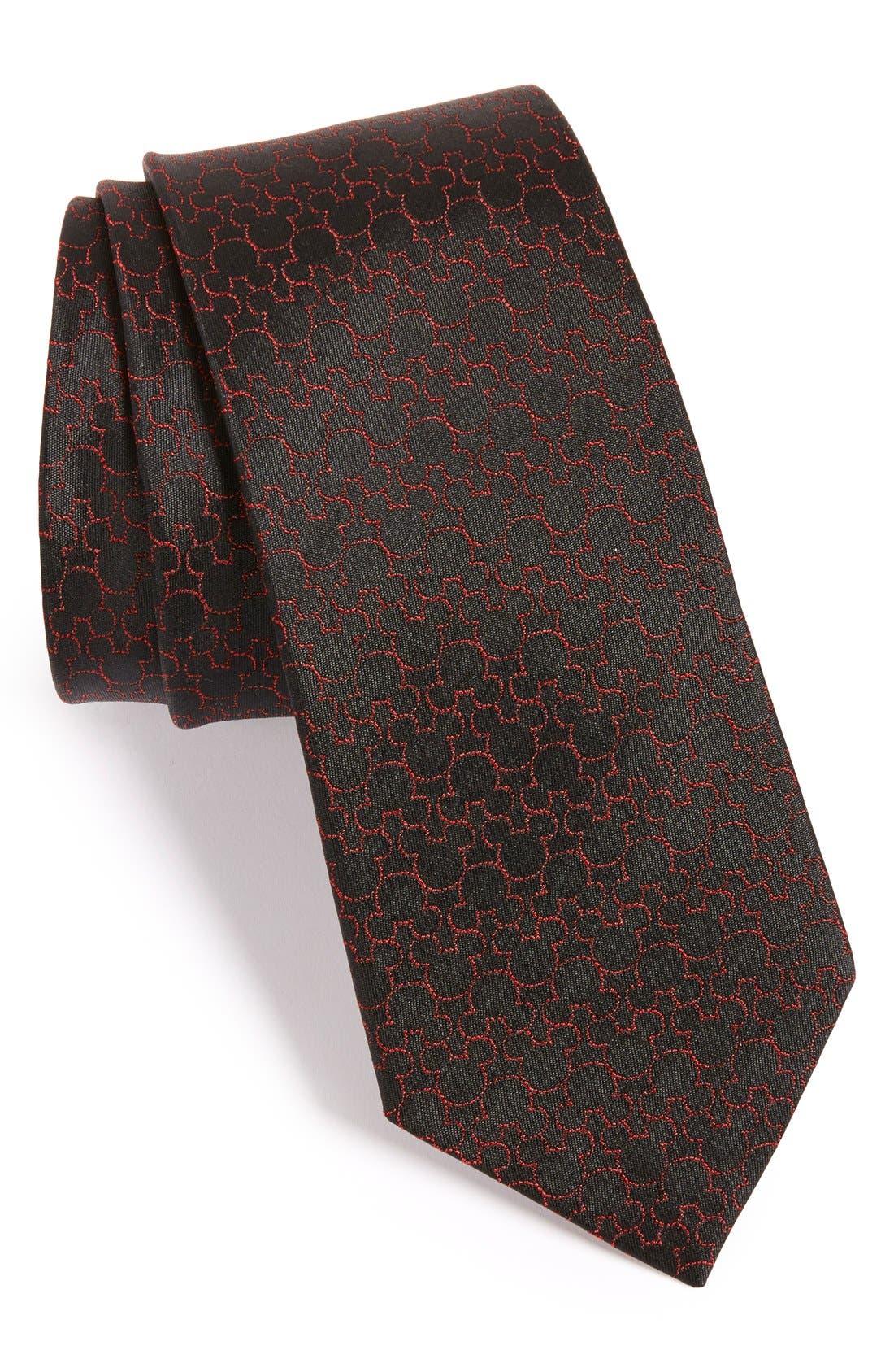 'Disney - Mickey Mouse' Silk Tie,                         Main,                         color, Black