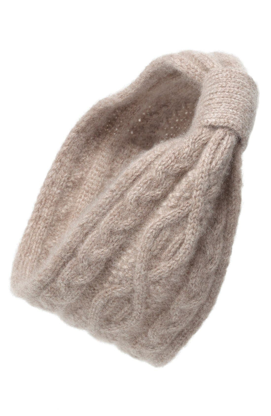 Convertible Cable Knit Cashmere Head Wrap,                         Main,                         color, Toast