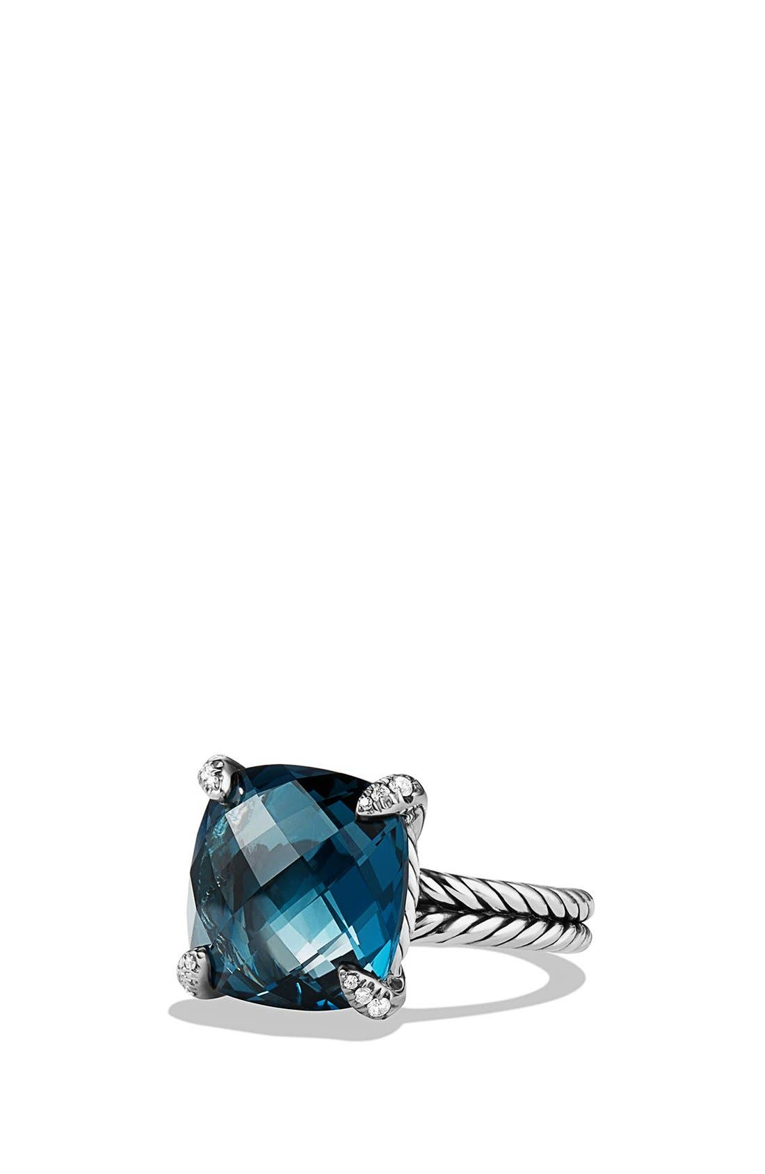 'Châtelaine' Ring with Semiprecious Stone and Diamonds,                             Main thumbnail 1, color,                             Silver/ Hampton Blue Topaz