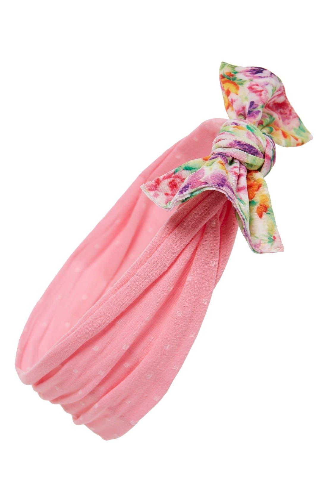 Print Bow Headband,                         Main,                         color, Floral Pink