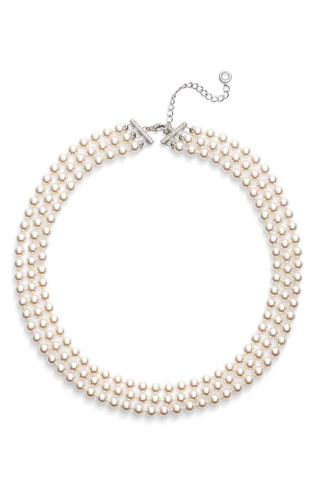 Multistrand Imitation Pearl Necklace,                             Alternate thumbnail 2, color,                             Ivory