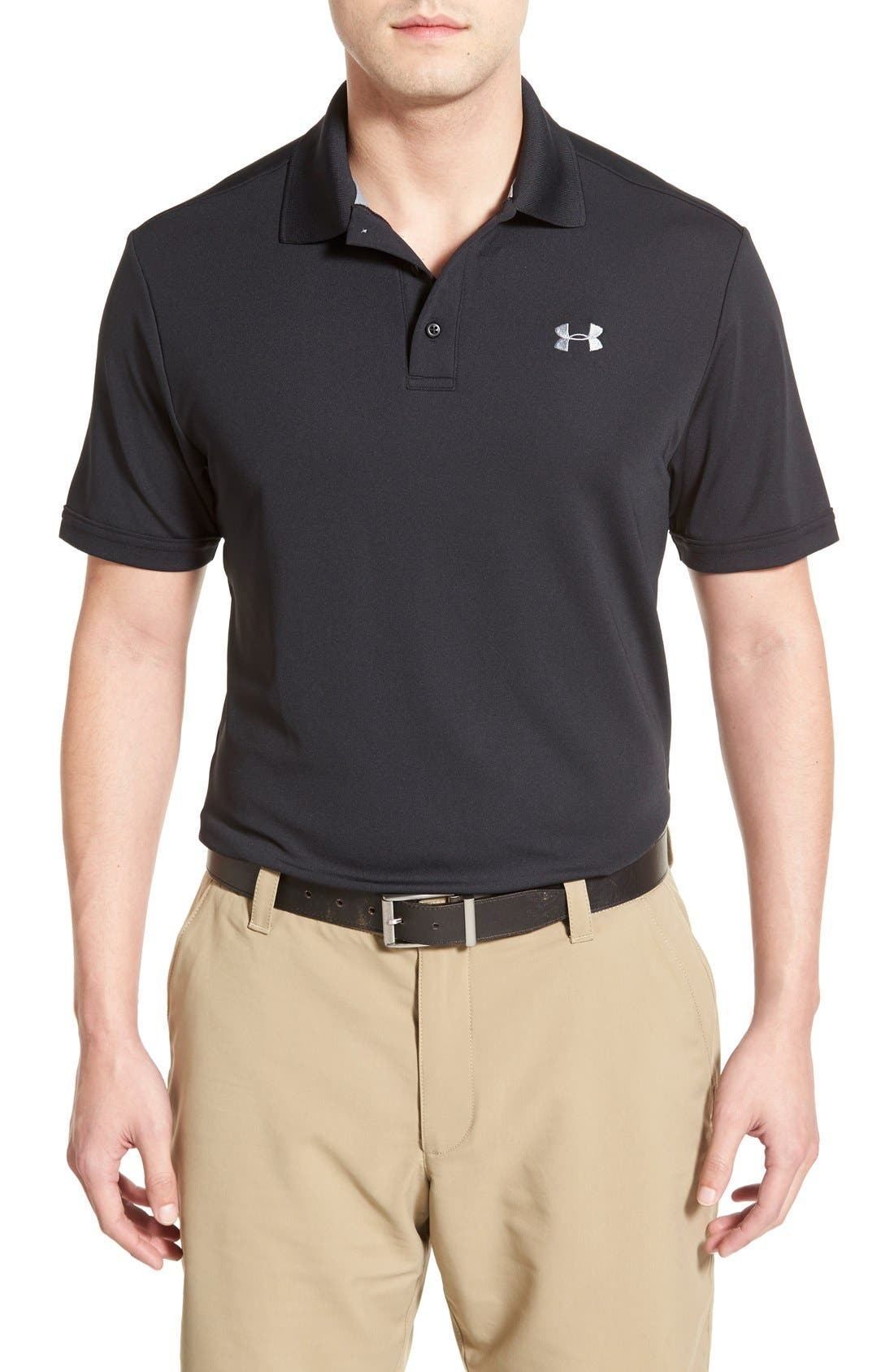 'Performance 2.0' Sweat Wicking Stretch Polo,                             Main thumbnail 1, color,                             Black