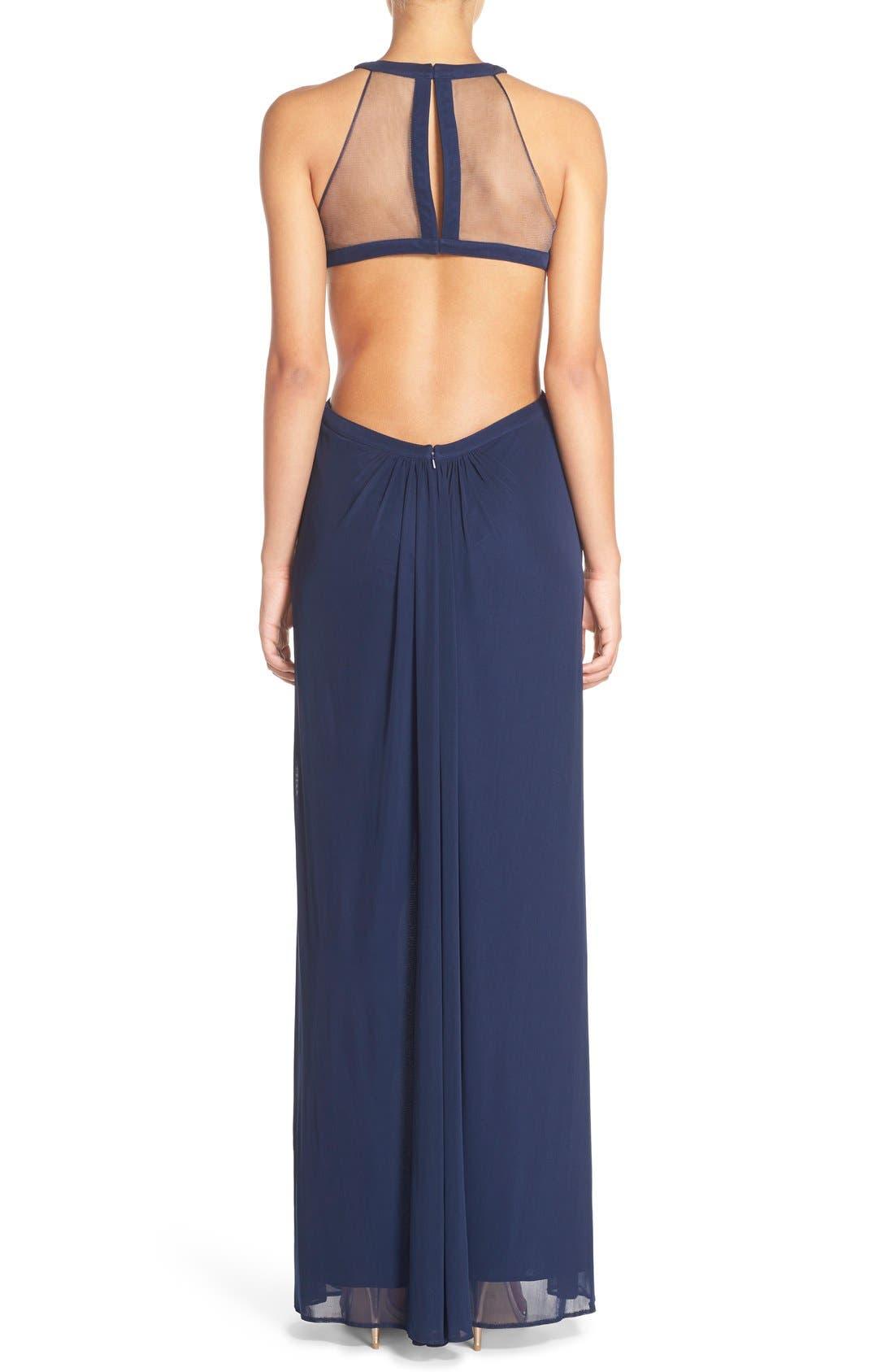 Alternate Image 2  - Abbi Von Cutout Net Jersey Gown