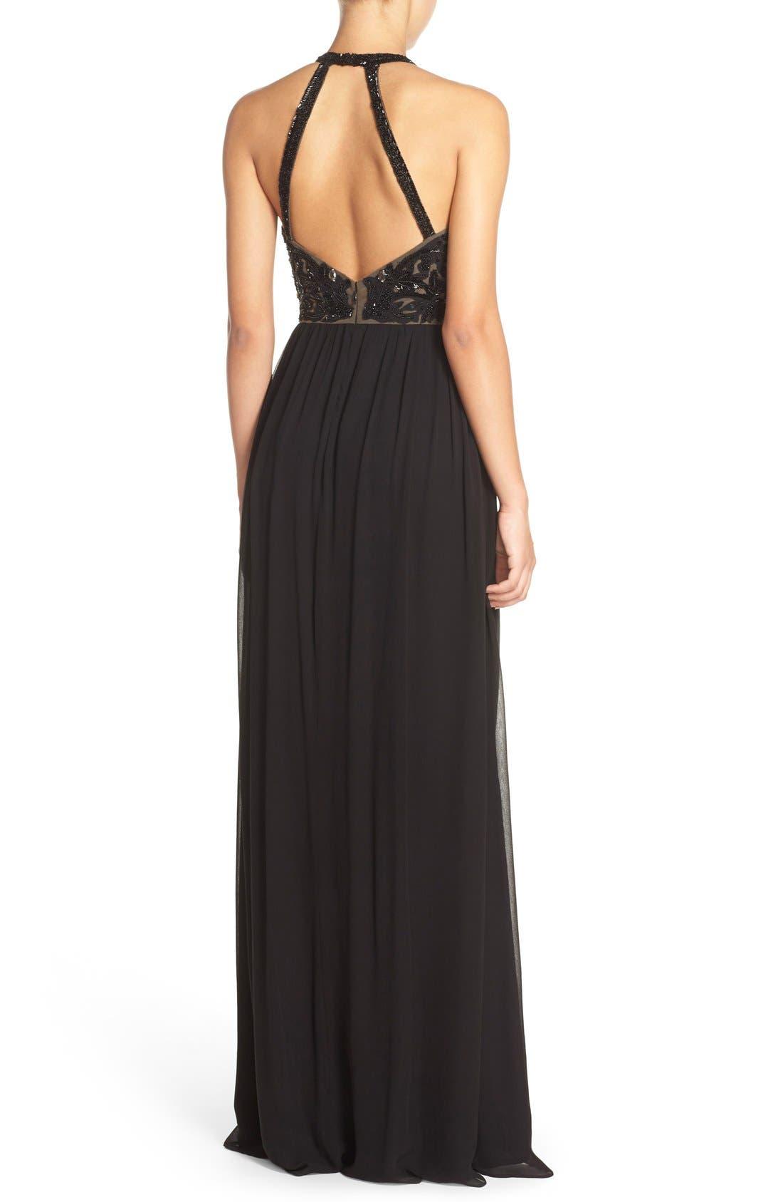 Alternate Image 2  - Parker 'Cassey' Embellished Bodice Halter Style Gown