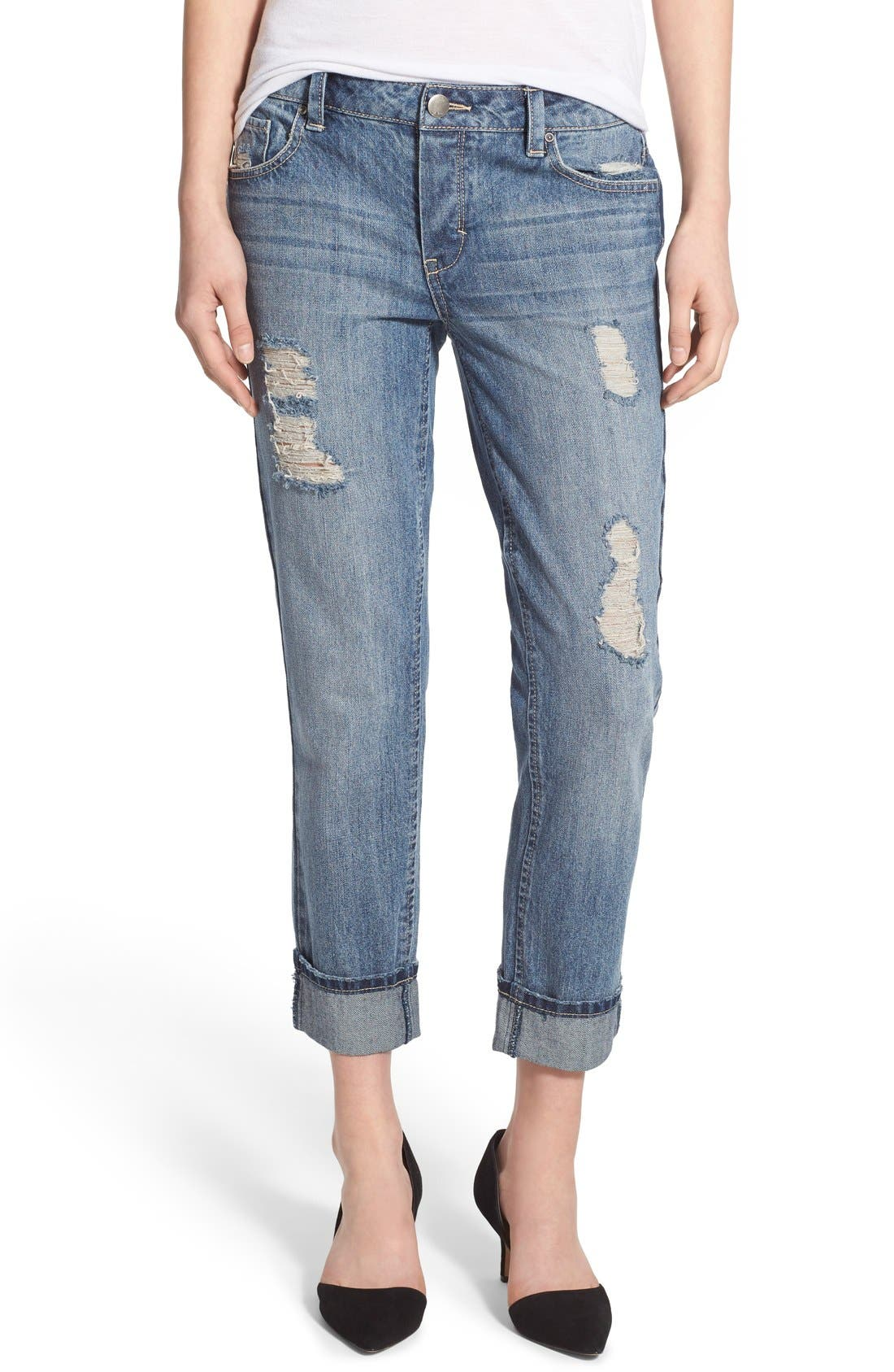 Main Image - Generra Distressed Slim Boyfriend Jeans (Carren)