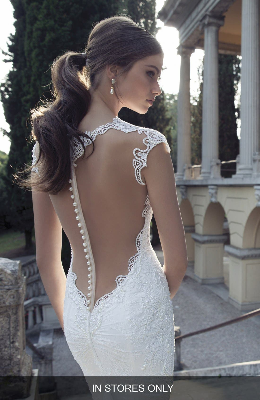 Sheer Back Lace Gown,                             Alternate thumbnail 2, color,                             Ivory