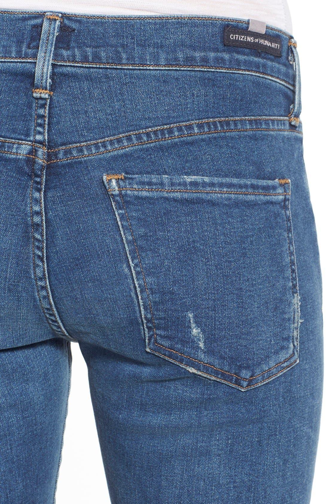 'Elsa' Crop Slim Jeans,                             Alternate thumbnail 4, color,                             Taos