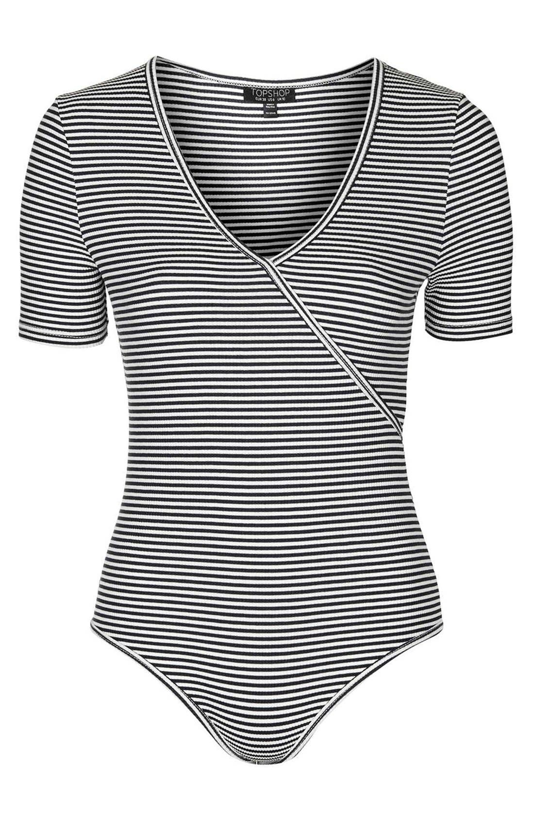 Alternate Image 4  - Topshop Stripe Surplice Jersey Bodysuit
